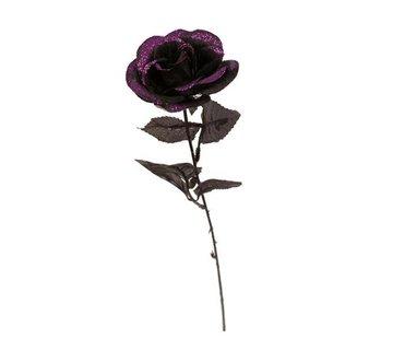 Deco Roos zwart Glitter