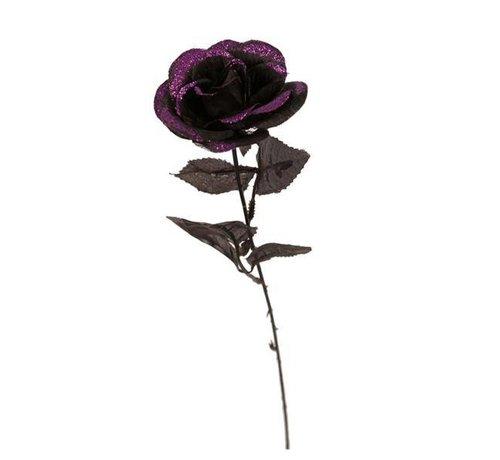 Partyline Black glitter Rose | Halloween deco