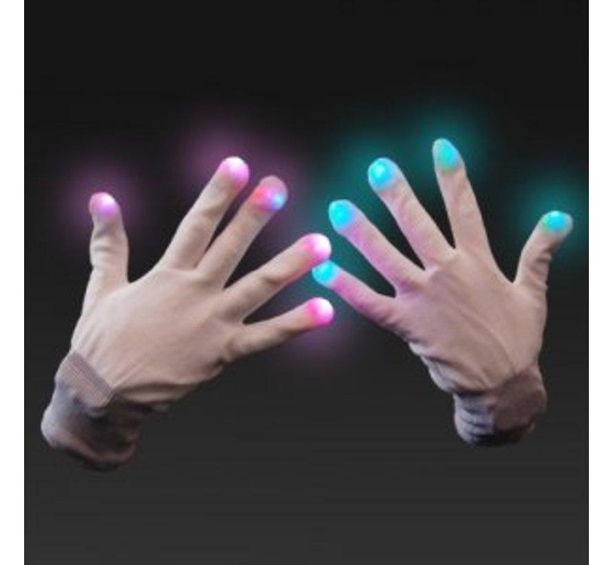 Multicolor LED Gloves - White