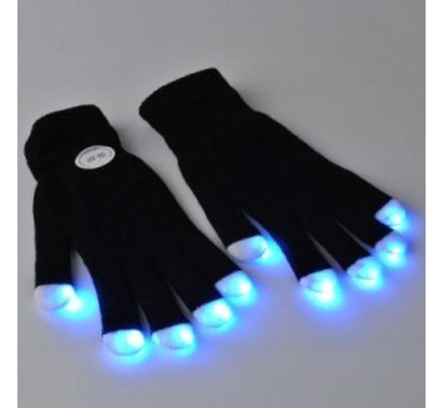 Multicolor LED Gloves - Black