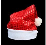 Breaklight.be Bonnet rouge avec sequins | Bonnet rouge scintillant
