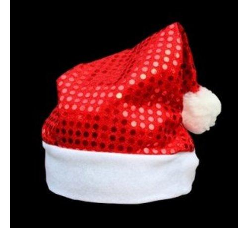 Breaklight.be Kerstmuts Rood met Pailletten | Glitter Rode Kerstmuts
