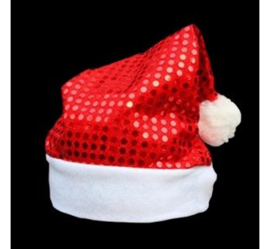 Kerstmuts Rood met Pailletten | Glitter Rode Kerstmuts
