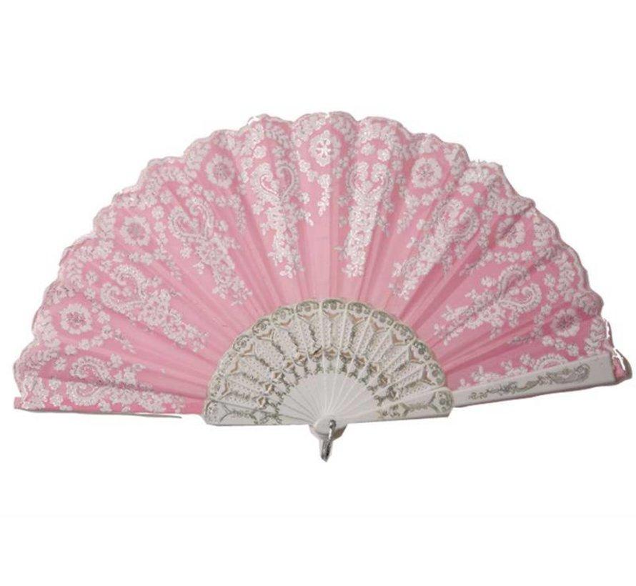 Waaier roze | Spaanse Waaier | Waaier in het roze met zilver