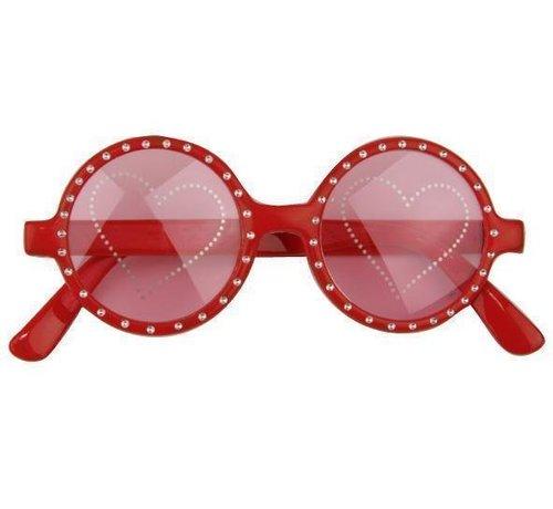Partyline Hartjes bril rood | Carnaval feestbril