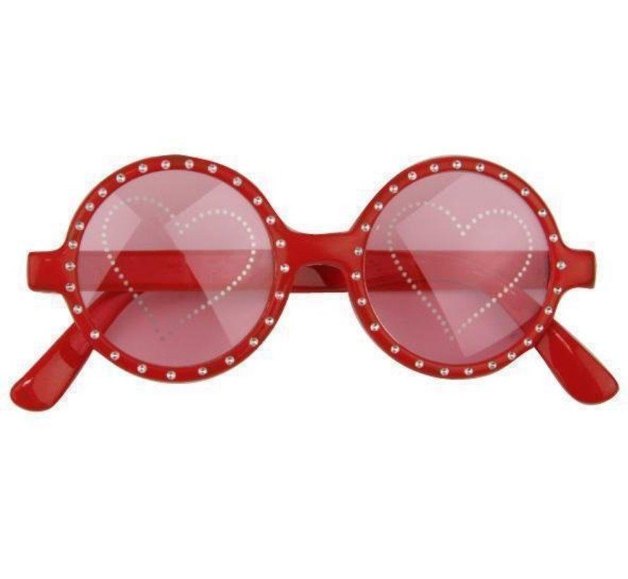 Hartjes bril rood | Carnaval feestbril
