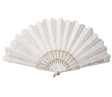 Partyline Waaier Wit | Spaanse Waaier | Waaier in het wit met zilver