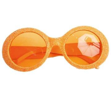 Partyline Disco Bril Glitter Neon Oranje