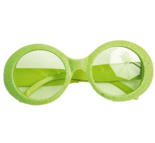 Partyline Disco Glasses Glitter Neon Green
