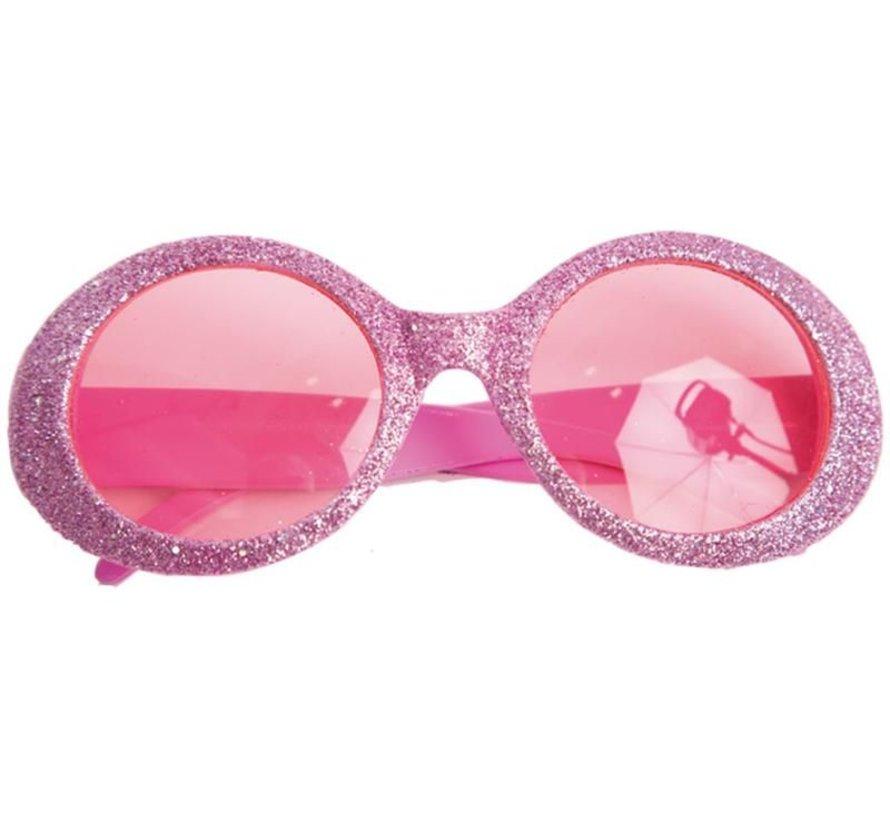 Disco Glasses Glitter Neon Pink