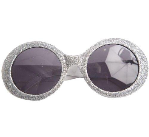 Partyline Disco Glasses Glitter Neon Silver