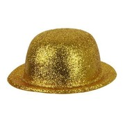 Partyline Bowler Hat Plastic Glitter Gold