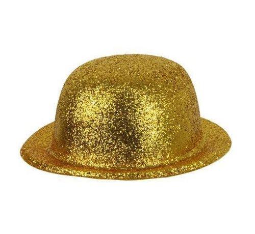 Partyline Bowler Hat Plastic Glitter Gold