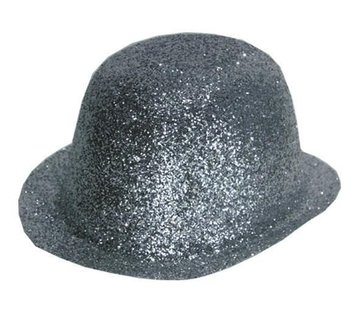 Partyline Bowler Hat Plastic Glitter Silver