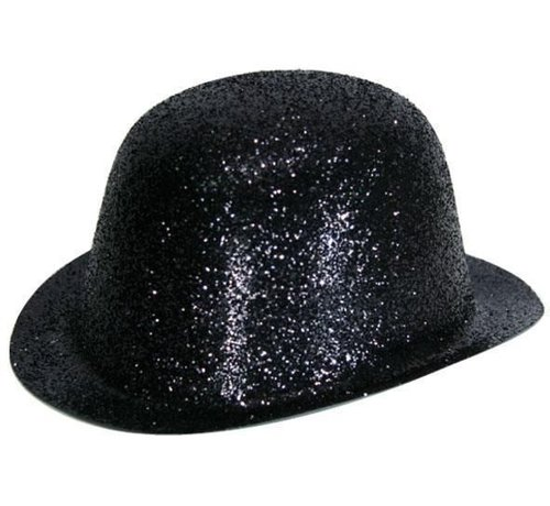 Partyline Bowler Hat Plastic Glitter Black