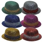 Partyline Bowler Hat Plastic Glitter (6 ass)