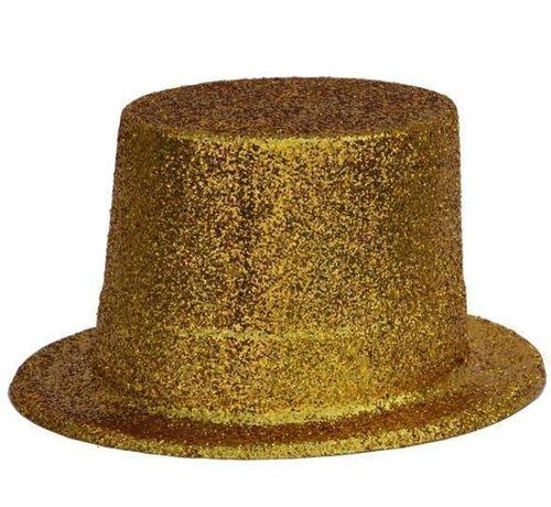 Partyline Topper Hat Plastic Glitter Gold