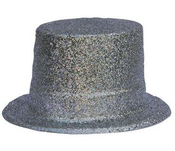 Partyline Topper Hat Plastic Glitter Silver