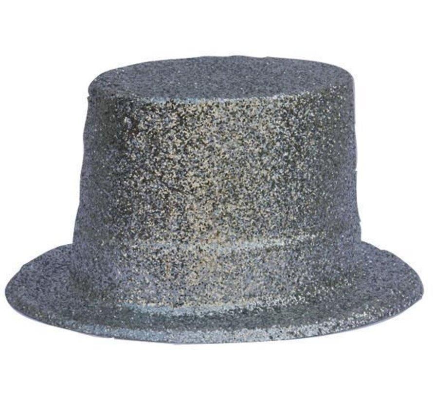 Topper Hat Plastic Glitter Silver