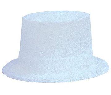 Partyline Topper Hat Plastic Glitter White