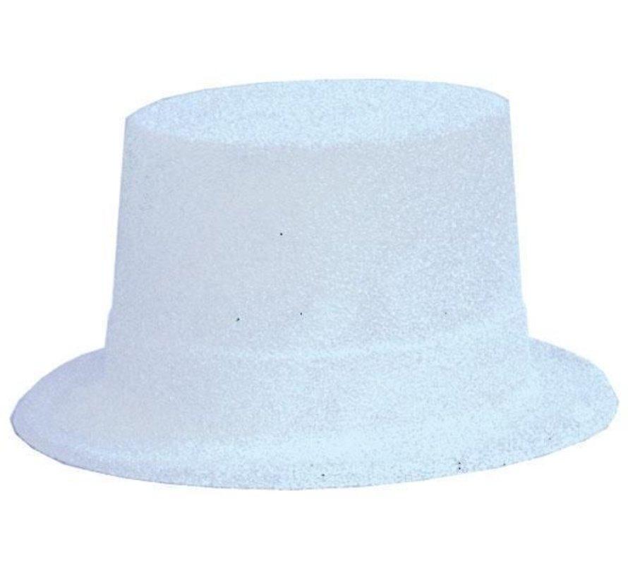 Topper Hat Plastic Glitter White