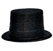 Partyline Topper Hat Plastic Glitter Black