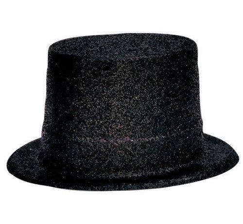 Partyline Topper Hat Plastic Glitter Black