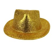Partyline Chapeau Borsalino Plastique Brillant Or