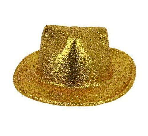 Partyline Borsalino Hat Plastic Glitter Gold