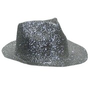Partyline Borsalinohoed Plastic Glitter Zilver