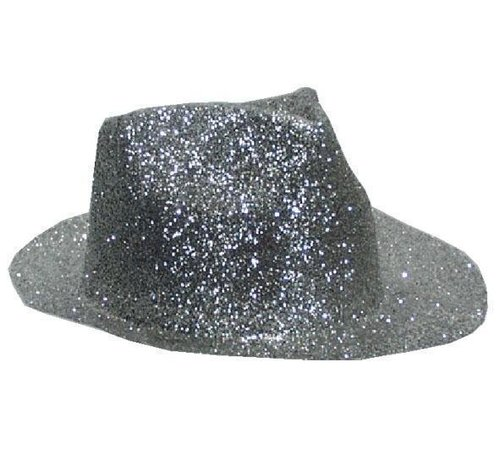 Borsalinohoed Plastic Glitter Zilver