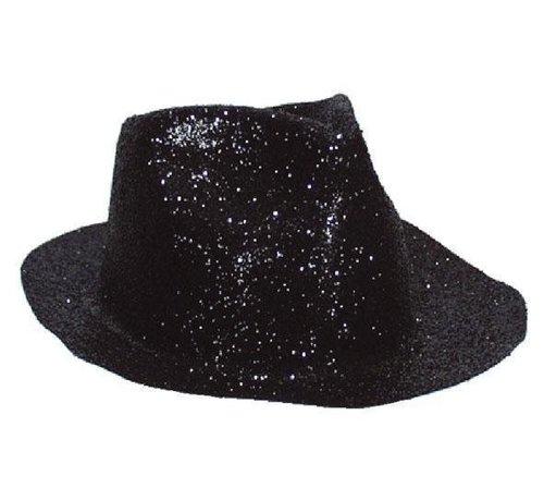Partyline Borsalinohoed Plastic Glitter Zwart