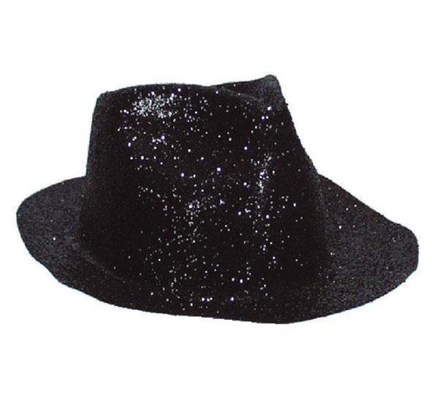 Borsalinohoed Plastic Glitter Zwart