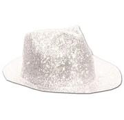 Partyline Borsalino Hat Plastic Glitter White