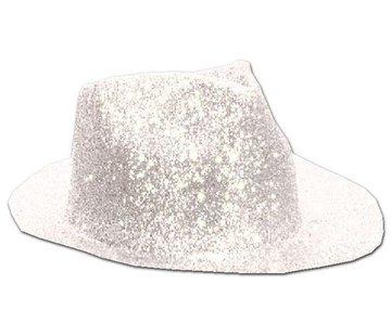 Partyline Chapeau Borsalino Plastique Brillant Blanc