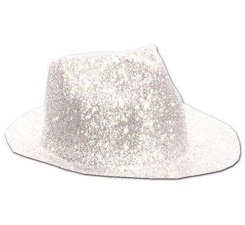 Borsalinohoed Plastic Glitter Wit