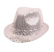 Partyline Chapeau Funk Sequin Argent + LED