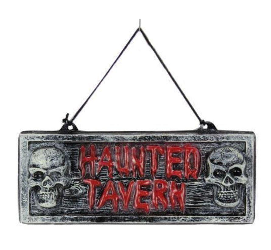 Panneau déco 'Haunted Tavern' | Décoration d'Halloween