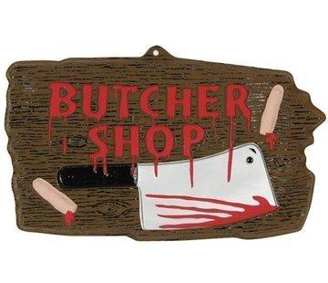 Partyline Panneau Déco 'Butcher shop' | Décoration Halloween