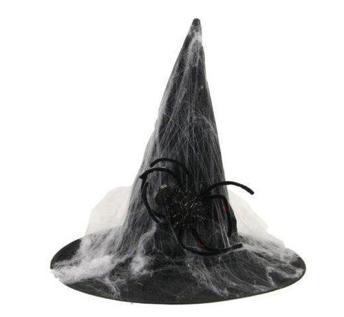 Partyline Chapeau de sorcière avec toile d'araignée | Chapeau d'Halloween