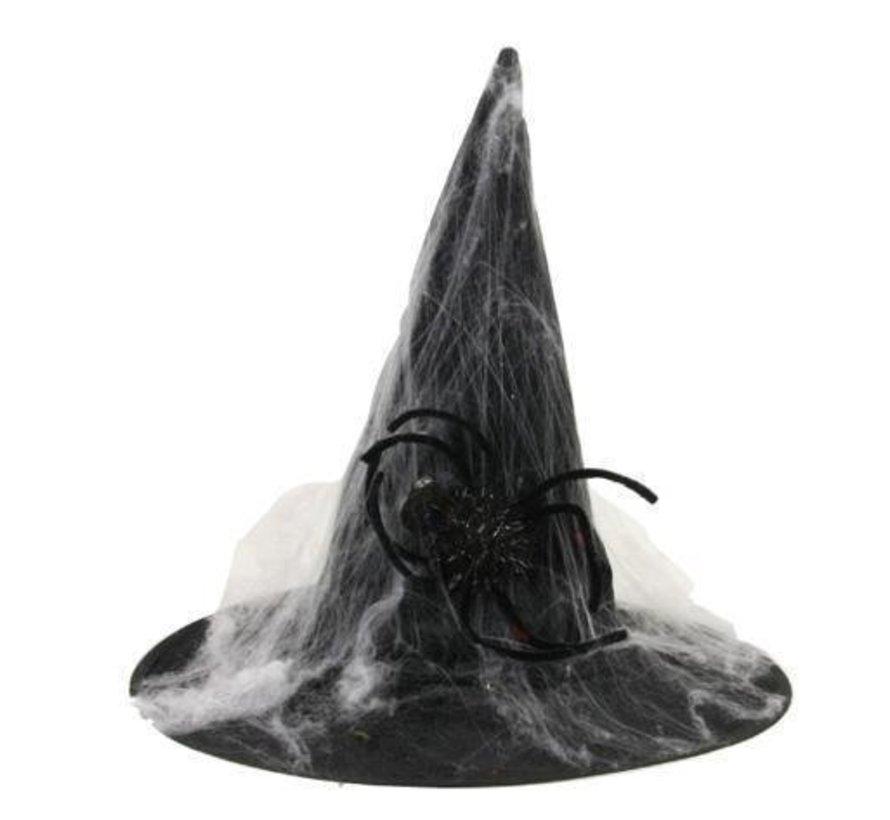 Chapeau de sorcière avec toile d'araignée | Chapeau d'Halloween