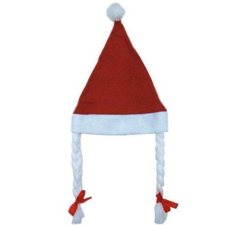 Partyline Kerstmuts met  vlechten |  Rode Kerstmuts
