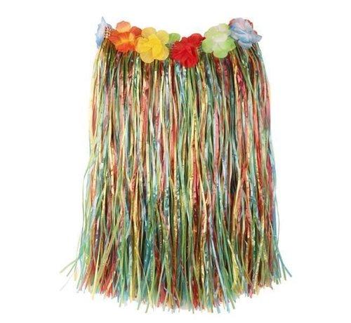 Partyline Raffia Skirt Multi + flowers 50cm