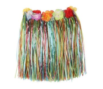 Partyline Raffia Skirt Multi + flowers 40cm
