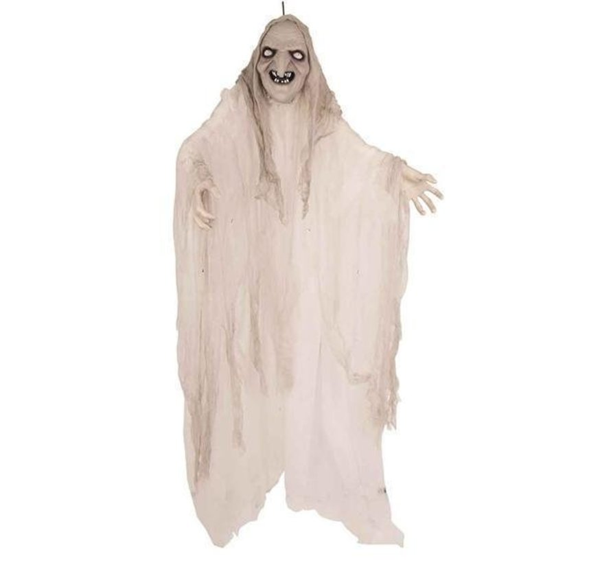 Decoration Witch white 150cm   Spinning, light and sound creepy effects