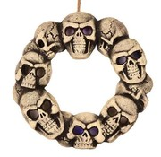 Partyline Skull wreath with light 38 cm | Halloween decoration
