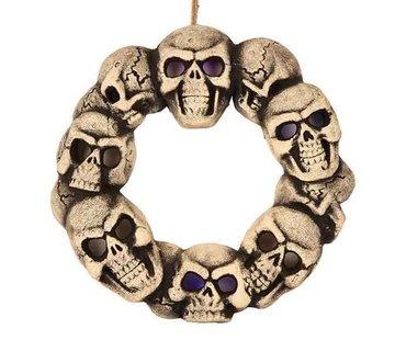 Partyline Doodshoofd krans met licht 38 cm | Decoratie Halloween