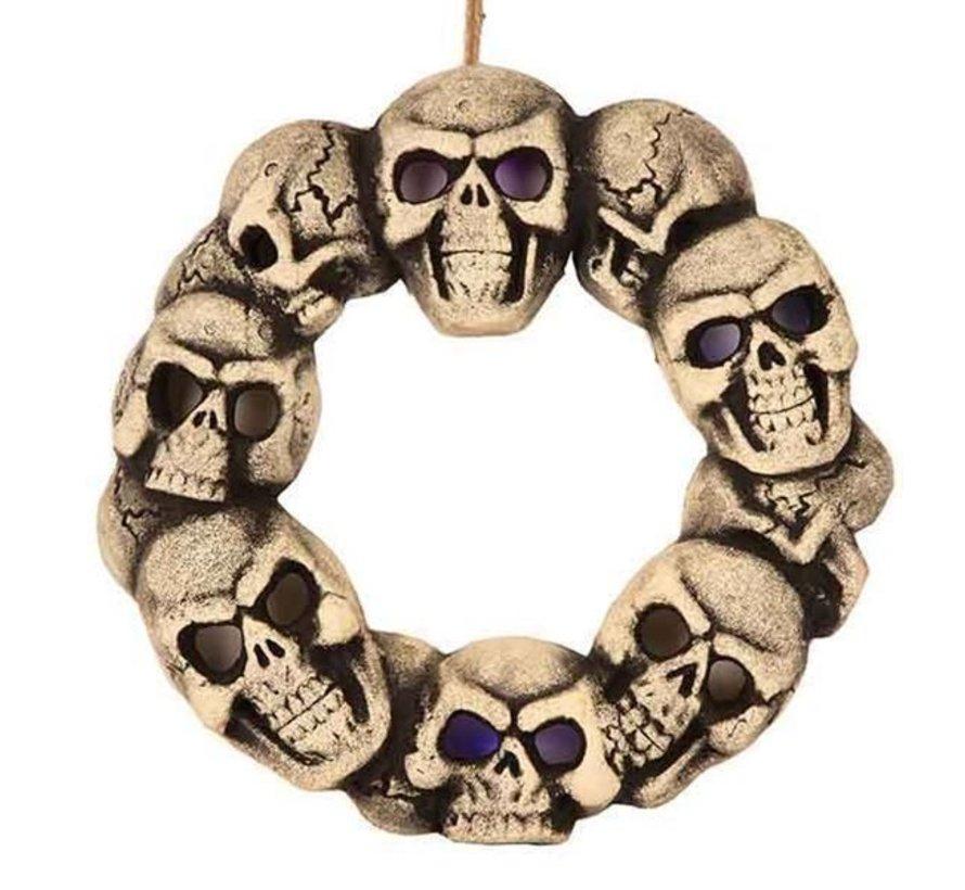 Doodshoofd krans met licht 38 cm | Decoratie Halloween