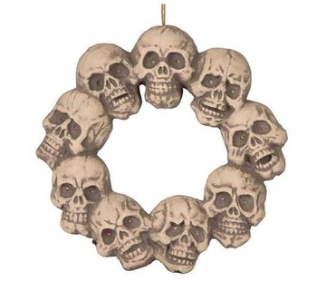 Partyline Skull wreath with light 48 cm | Halloween decoration