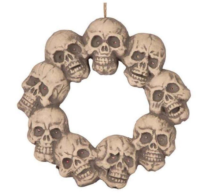 Couronne de crâne avec lumière 48 cm | Décoration d'Halloween